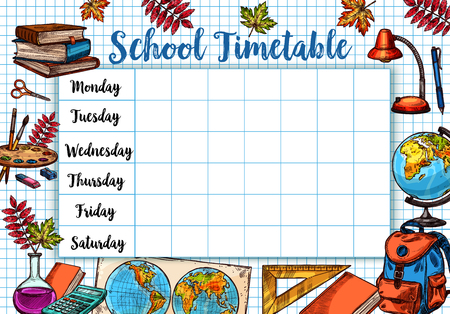 Illustration for Back to School sketch vector timetable schedule - Royalty Free Image