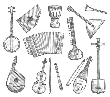 Vector sketch icons of musical instruments