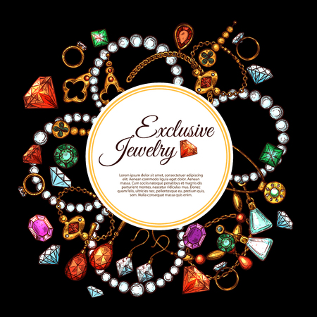 Ilustración de Vector poster of jewelry fashion accessories - Imagen libre de derechos