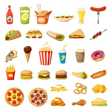 Ilustración de Vector Fast food icons isolated burgers sandwiches - Imagen libre de derechos