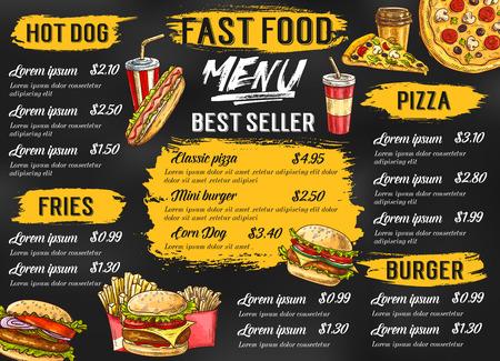 Ilustración de Fast food restaurant vector menu sketch template - Imagen libre de derechos