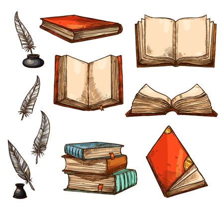 Illustration pour Vector icons of old books and manuscripts sketch - image libre de droit