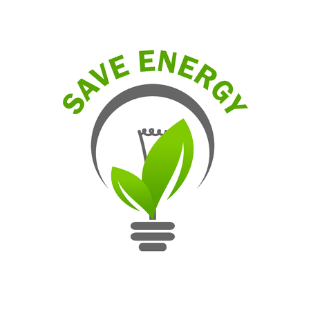 Ilustración de Green leaf light lamp bulb save energy vector icon - Imagen libre de derechos