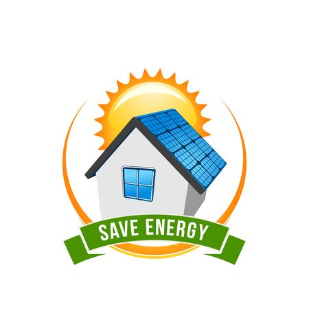 Illustration pour Green energy save solar house vector icon - image libre de droit