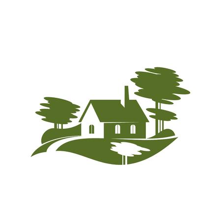 Illustration pour Green village tree landscape gardening vector icon - image libre de droit