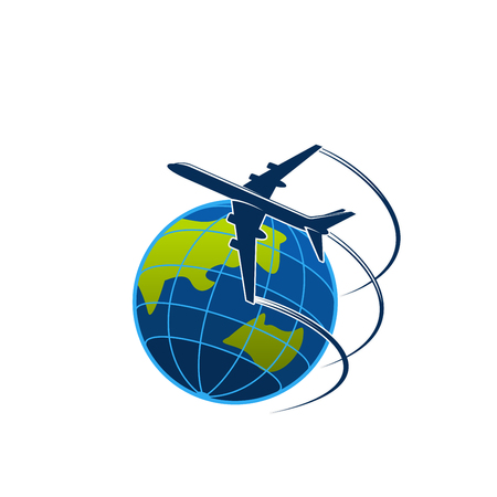 Ilustración de Plane and globe travel or express post vector icon - Imagen libre de derechos