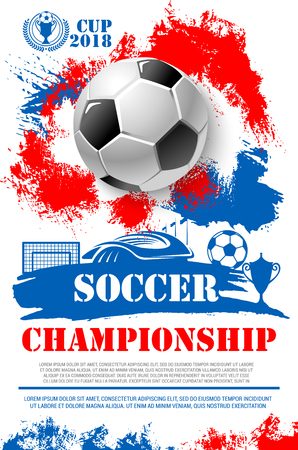 Ilustración de Soccer championship 2018 cup poster of football ball, goal gates at arena stadium and winner golden goblet award. Vector design of champion victory wreath in red, white and blue Russian flag colors - Imagen libre de derechos