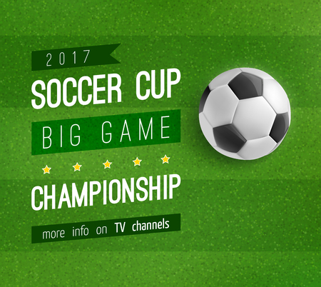 Illustration pour Soccer ball on football field poster, sport design - image libre de droit