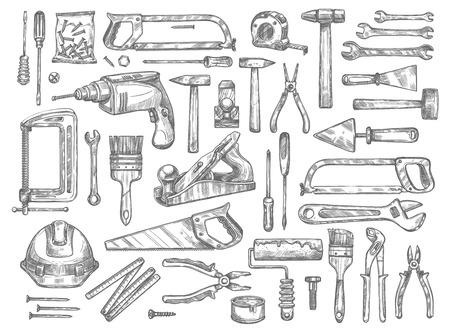 Illustration pour Vector work tools sketch icons for house repair. - image libre de droit