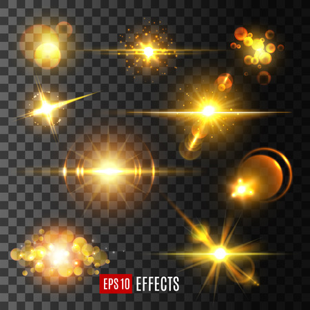 Vector golden light flashes and star sparkle icons