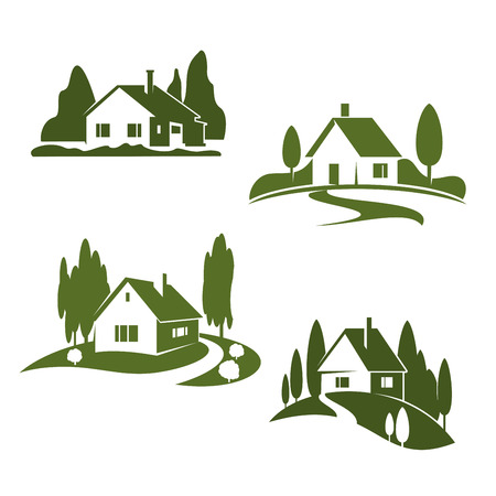 Photo for Vector green house farm forest icons - Royalty Free Image