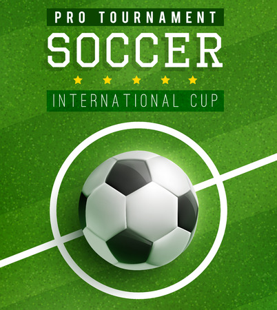 Soccer Ball In Center Of Football Field Poster Template Of International Cup Football Sport Game Tournament Match Banner With Soccer Ball On Green Grass Of Stadium Field For Flyer Or Ticket Design