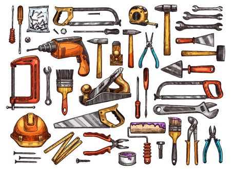 Illustration pour Tool for construction and repair work sketch set. Hammer, screwdriver and wrench, pliers, spanner, paint brush and roller, drill, saw, trowel and screw, tape measure, helmet and vice equipment design - image libre de droit