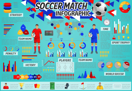 Soccer match info graphic of football sport game