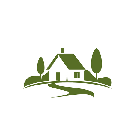 Photo pour Country house or green home icon for real estate agency or ecology home concept. Vector isolated symbol of farm house in green forest or woodlands park for landscape designing company - image libre de droit