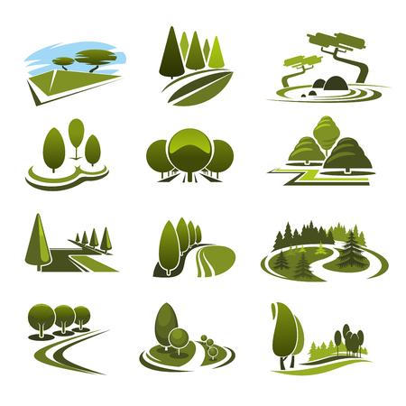 Illustration pour Green landscape design icons template with ecology nature trees in park - image libre de droit