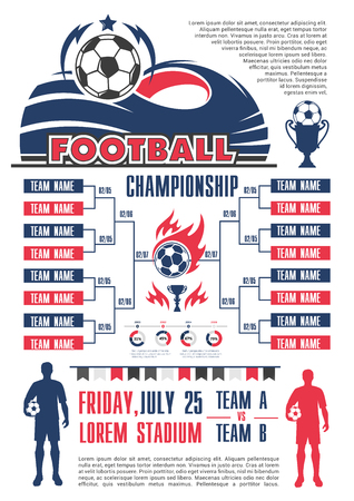 Football championship cup schedule banner template. List of soccer sport match poster, decorated with football team player, ball and stadium, winner trophy cup and star for soccer competition design.