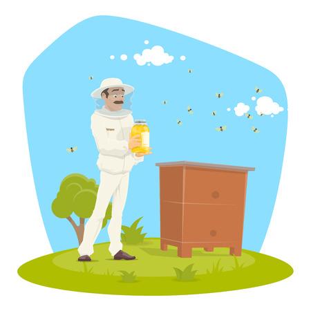Beekeeping apiary and beekeeper vector design illustration.