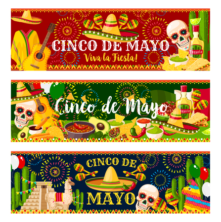 Illustration pour Mexican Cinco de Mayo vector fiesta banners - image libre de droit