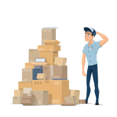 Ilustración de Mail parcels and postman vector flat icon - Imagen libre de derechos