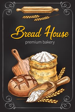 Illustration pour A Vector sketch poster for bakery bread house - image libre de droit
