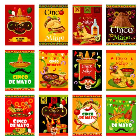 Ilustración de Cinco de Mayo greeting card set for mexican holiday design. Sombrero, maracas and guitar, fiesta party food and drink, chili pepper, jalapeno and tequila, Mexico flag, cactus and pinata festive banner Vector illustration. - Imagen libre de derechos