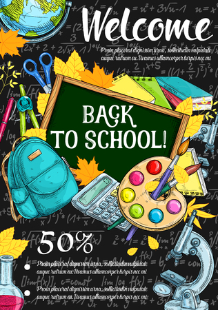 Photo pour Back to school discount offer sale banner design - image libre de droit