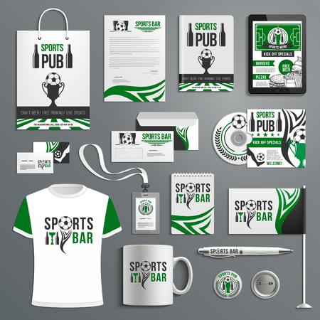 Ilustración de Corporate identity of sport bar with beer, ball - Imagen libre de derechos
