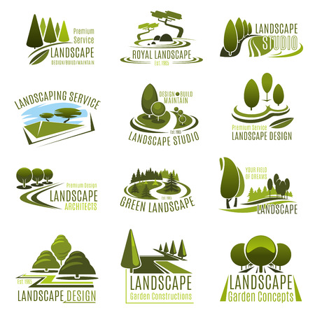 Illustration for Landscape design studio icon set. Landscaping and gardening service company emblem with summer park green tree, eco park decorative plant, garden lawn and alley for landscape architecture design - Royalty Free Image