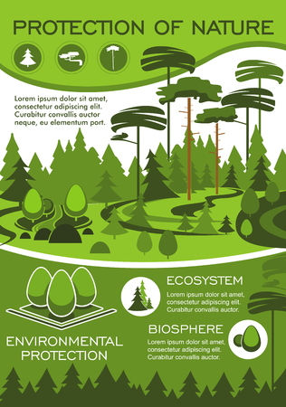 Ilustración de Green nature and environment protection poster for ecology and natural resources conservation. Forest ecosystem banner with green tree for eco friendly technology and sustainable development design - Imagen libre de derechos