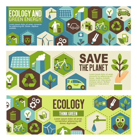 Ilustración de Ecology and green energy eco banner template. Word environment protection concept poster with flat symbol of recycle, wind turbine and solar panel, green tree plant, eco transport and water saving - Imagen libre de derechos