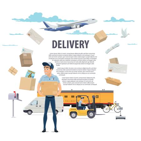 Ilustración de Post mail delivery and postman vector poster - Imagen libre de derechos