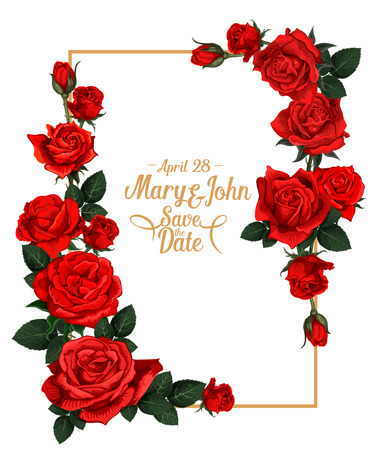 Illustration for Vector floral wedding picture frame - Royalty Free Image