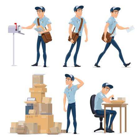 Ilustración de Postman delivering mail icon for postal service - Imagen libre de derechos