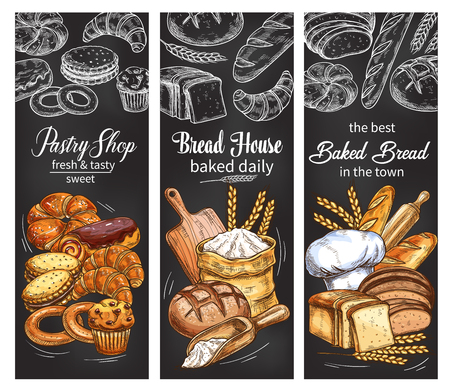 Illustration pour Bakery and pastry shop banner with bread and bun - image libre de droit