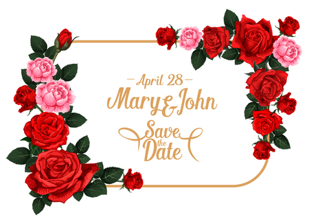 Ilustración de Save the Date wedding invitation card template with rose flower frame. Blooming rose flower and floral bud border with red or pink blossom, green leaf and copy space for wedding ceremony invite design - Imagen libre de derechos