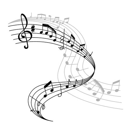 Illustration pour Vector music poster or notes staff icon - image libre de droit