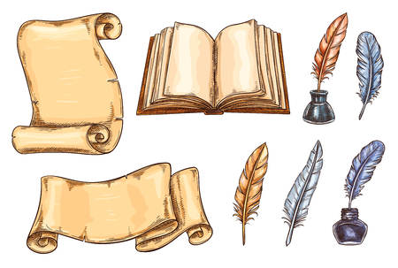 Illustration for Vector sketch icons of old vintage books and quill pens - Royalty Free Image