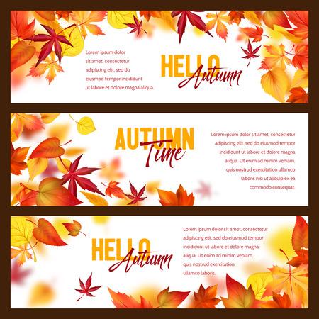 Illustration pour Autumn foliage fall falling leaves vector banners - image libre de droit