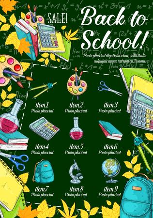Illustration pour School supplies sale banner on chalkboard - image libre de droit