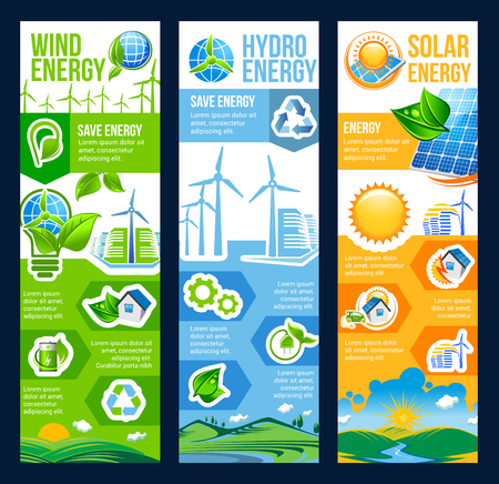 Ilustración de Save energy eco banner with renewable resource of ecology and environment friendly power. Green city house with solar panel, wind turbine and hydro station flyer with recycling sign and green leaf - Imagen libre de derechos