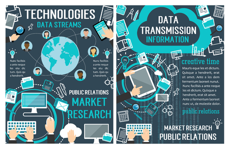 vector banners about data technology