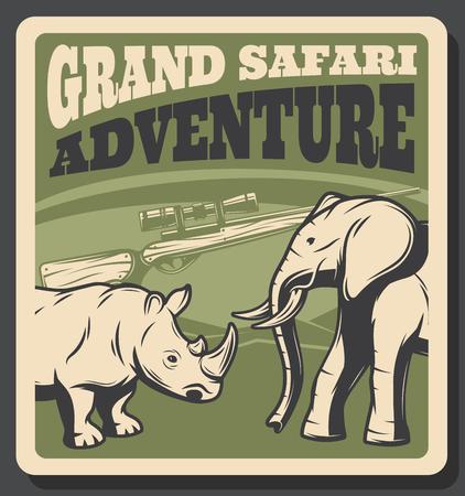 Safari animal retro poster of hunting sport design