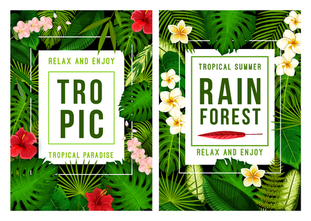 Illustration for Summer tropical beach vacation poster for exotic holiday template. Tropical palm green leaf frame, decorated with Hawaiian flower of hibiscus, orchid and plumeria for summertime season themes design - Royalty Free Image