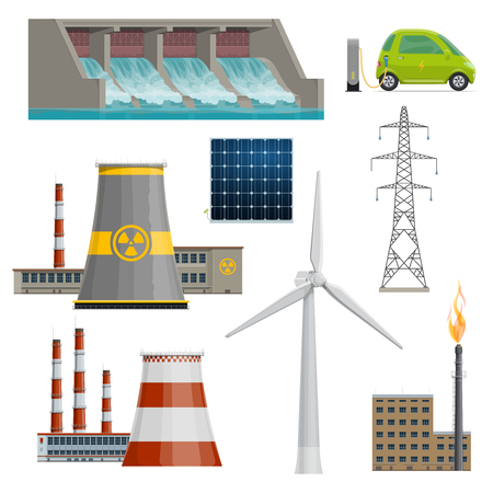 Illustration for Vector icons of power stations - Royalty Free Image