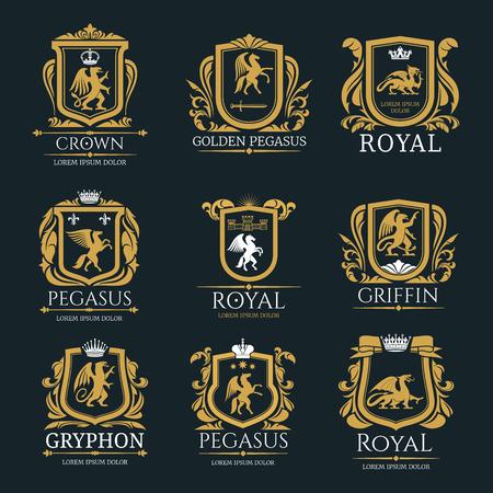 Ilustración de Heraldic royal animals vector isolated icons - Imagen libre de derechos