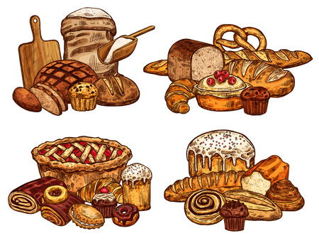 Vektor für Bakery shop bread and pastry sketch. Vector design of wheat loaf and rye bagel or croissant baguette, flour bag and cutting board with rolling pin, chocolate donut or sweet cookie for patisserie - Lizenzfreies Bild