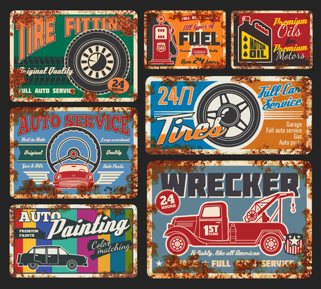 Illustration pour Car service and tire fitting retro cards. Automobile painting, tires and wheels repair, all types of fuel and oils change. Vehicle wrecker order, full service and auto parts available 24 h vector - image libre de droit