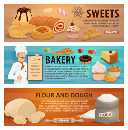 Illustration for Flour and dough for sweets and bakery products banners. Baker in uniform holds menu vector. Confectionery cakes, cupcakes and donuts, marmalades and pies, croissants and buns of natural organic wheat - Royalty Free Image