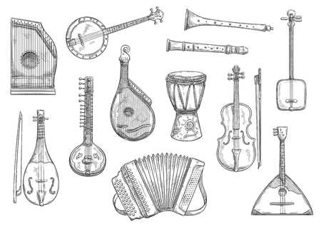 Illustration pour Musical instruments sketches set. Vector button accordion, reed pipe or folk bandura and African jembe drum, Japanese shamisen and banjo guitar or zither for live music or concert performance - image libre de droit